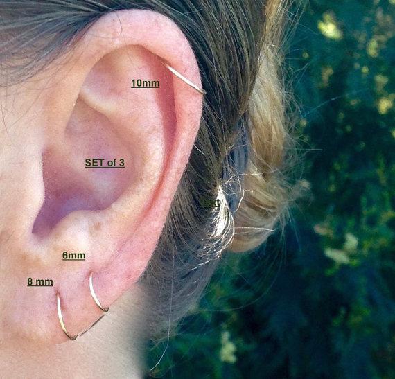 Cartilage Hoop Earrings Gold Hoop Earrings Rook Simple Hoop