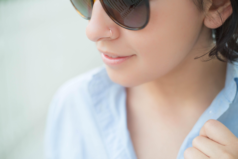 Rose Gold Hoop Nose Ring Snug Fitting 14k Rose Gold